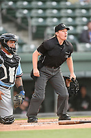 Umpire Jennifer Pawol works a Class A game between the Greenville Drive and Hickory Crawdads on Wednesday, May 15, 2019, at Fluor Field at the West End in Greenville, South Carolina. She is one of the few female umpires in professional baseball. (Tom Priddy/Four Seam Images)