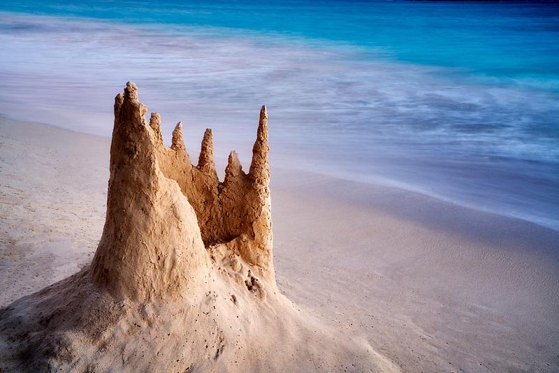 Remains of a snad castle. Kailua Beach Park, Oahu, Hawaii