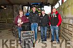 Tom Slattery, Brendan O'Sullivan, Brian Kennedy and Kieran Galvin at the charity threshing event at the Dingle Mart on Saturday.