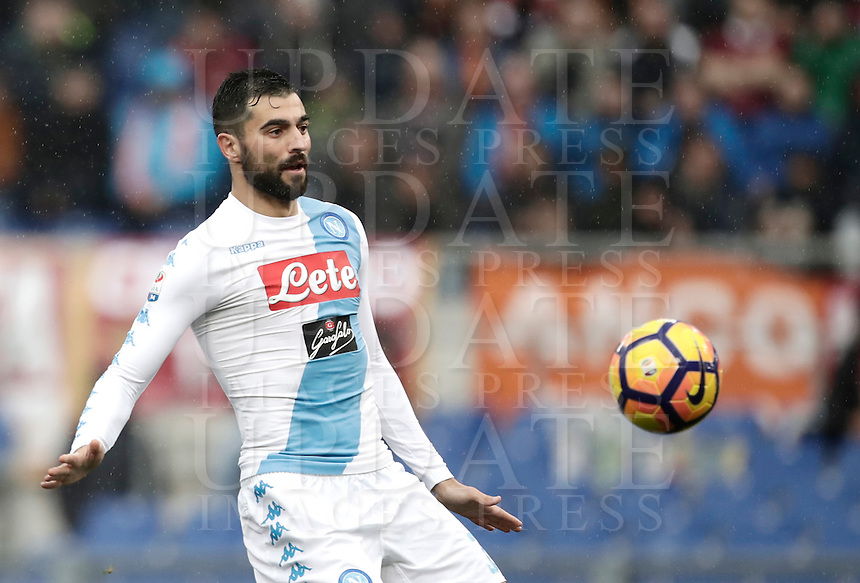 Napoli's Raul Albiol in action during the Serie A soccer match between Roma and Napoli at the Olympic stadium, 4 March 2017.<br /> UPDATE IMAGES PRESS/Isabella Bonotto