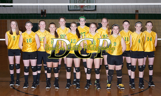 February 12, 2014- Tuscola, IL- The 2014 Tuscola Hornet volleyball 7th grade team. Alternating from left are Jackie Watson, Halie Pfeiffer, Ashton Smith, Emily Kemp, Allison Clark, McKinlee Miller, Bailey Good, Natalie Bates, Sophie Jones, Gabby Gunther, Lexie Russo, Claire Ring, and Sidney Watson. [Photo: Douglas Cottle]