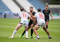 22nd August 2020; The John Smiths Stadium, Huddersfield, Yorkshire, England; Rugby League Coral Challenge Cup, Catalan Dragons versus Wakefield Trinity; Jason Baitieri of Catalan Dragons is tackled by Matty Ashurst and Tinirau Arona of Wakefield Trinity