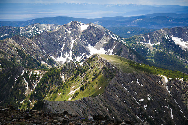 McGlaughlin Peak and unnamed peaks to south. Big Hole Valley in the distance. View from Warren Peak in Montana's Anaconda Pintler Wilderness area.
