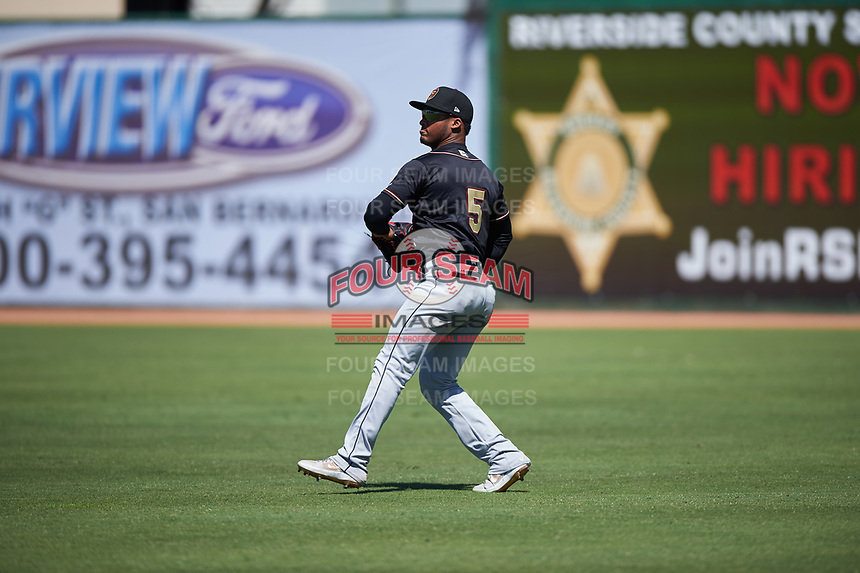 Modesto Nuts right fielder Anthony Jimenez (5) during a California League game against the Inland Empire 66ers on April 10, 2019 at San Manuel Stadium in San Bernardino, California. Inland Empire defeated Modesto 5-4 in 13 innings. (Zachary Lucy/Four Seam Images)