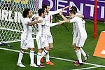Real Madrid's Marcelo Vieira, Isco Alarcon, Garet Bale, Lucas Vazquez and Cristiano Ronaldo celebrate goal during La Liga match. November 19,2016. (ALTERPHOTOS/Acero)
