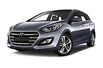 Stock pictures of low aggressive front three quarter view of 2015 Hyundai I30 Go 5 Door Wagon Low Aggressive