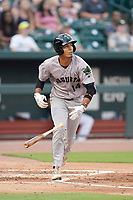 Third baseman Vaughn Grissom (14) of the Augusta GreenJackets in a game against the Columbia Fireflies on Tuesday, May 25, 2021, at Segra Park in Columbia, South Carolina. (Tom Priddy/Four Seam Images)