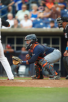 Bowing Green Hot Rods catcher David Rodriguez (7) during a game against the Quad Cities River Bandits on July 24, 2016 at Modern Woodmen Park in Davenport, Iowa.  Quad Cities defeated Bowling Green 6-5.  (Mike Janes/Four Seam Images)