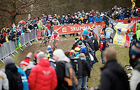 Simon Andreassen (DEN) & Eli Iserbyt (BEL) fighting for the lead<br /> <br /> Men Juniors Race<br /> <br /> 2015 UCI World Championships Cyclocross <br /> Tabor, Czech Republic