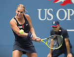 Dominika Cibulkova (SVK) defeats Ana Ivanovic 6-3, 3-6, 6-3 in the first match in Arthur Ashe at the US Open in Flushing, MY on August 31, 2015.