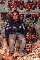 Nepal, Patan.  Mask-carver in his Workshop.