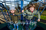 Marek and Ariadna Barcia enjoying the playground in the Tralee town park on Saturday.