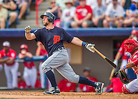 5 March 2016: Detroit Tigers catcher Bryan Holaday hits a 2-run homer in the second inning of a Spring Training pre-season game against the Washington Nationals at Space Coast Stadium in Viera, Florida. The Tigers fell to the Nationals 8-4 in Grapefruit League play. Mandatory Credit: Ed Wolfstein Photo *** RAW (NEF) Image File Available ***