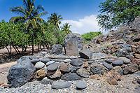 A stone leaning post near Pu'ukohola Heiau, Big Island.