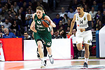 Zalgiris' Marius Grigonis and Real Madrid's Gustavo Ayon during Euroligue match between Real Madrid and Zalgiris Kaunas at Wizink Center in Madrid, Spain. April 4, 2019.  (ALTERPHOTOS/Alconada)