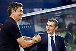 CD Leganes's coach Mauricio Pellegrino and FC Barcelona's Ernesto Valverde during La Liga match between CD Leganes and FC Barcelona at Butarque Stadium in Madrid, Spain. September 26, 2018. (ALTERPHOTOS/A. Perez Meca)