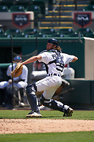 Detroit Tigers catcher Christopher Proctor (59) throws to third base during a Minor League Spring Training game against the Baltimore Orioles on April 14, 2021 at Joker Marchant Stadium in Lakeland, Florida.  (Mike Janes/Four Seam Images)