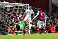 Barclays Premier League, West Ham United (red)V Swansea City Fc (white), Boelyn Ground, 02/02/13<br /> Pictured: Goal mouth scramble late in the second half as the Swans look for the equaliser<br /> Picture by: Ben Wyeth / Athena Picture Agency<br /> info@athena-pictures.com