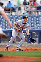 Lakeland Flying Tigers first baseman Will Allen (15) during a game against the Charlotte Stone Crabs on April 16, 2017 at Charlotte Sports Park in Port Charlotte, Florida.  Lakeland defeated Charlotte 4-2.  (Mike Janes/Four Seam Images)
