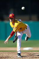Kyle Twomey #24 of the USC Trojans pitches against the Cal State Northridge Matadors at Dedeaux Field on February 24, 2013 in Los Angeles, California. (Larry Goren/Four Seam Images)