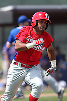 Philadelphia Phillies Delvy Francisco #2 during a spring training game against the Detroit Tigers at the Carpenter Complex on March 20, 2012 in Clearwater, Florida.  (Mike Janes/Four Seam Images)
