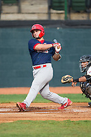 Chris Chinea (22) of the Johnson City Cardinals follows through on his swing against the Bristol Pirates at Boyce Cox Field on July 7, 2015 in Bristol, Virginia.  The Cardinals defeated the Pirates 4-1 in game one of a double-header. (Brian Westerholt/Four Seam Images)
