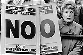 Demonstration against the planned route for the channel tunnel rail link, Trafalgar Square, London 1989.