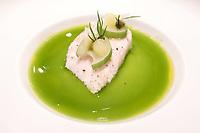The dish of Hamachi, jade sauce & sansho pepper at Restaurant Tim Raue, Berlin, Germany. Photo Sydney Low