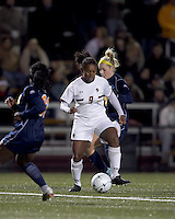 """Boston College forward Natalie Crutchfield (9) at midfield. Boston College defeated West Virginia, 4-0, in NCAA tournament """"Sweet 16"""" match at Newton Soccer Field, Newton, MA."""