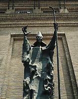 SERRANO AGUILAR, Pablo (1908-1985). Saint Valerus. 1964. SPAIN. Zaragoza. Sculpture on bronze.