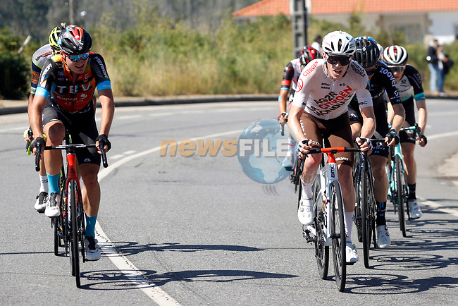 Part of the breakaway including Mark Padun (UKR) Bahrain Victorious and Stan Dewulf (BEL) AG2R Citroën Team during Stage 20 of La Vuelta d'Espana 2021, running 202.2km from Sanxenxo to Mos, Spain. 4th September 2021.    <br /> Picture: Luis Angel Gomez/Photogomezsport | Cyclefile<br /> <br /> All photos usage must carry mandatory copyright credit (© Cyclefile | Luis Angel Gomez/Photogomezsport)