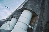 Itaipu, Parana State, Brazil. Turbine tubes at the huge Itaipu hydroelectric dam, second largest in the world.
