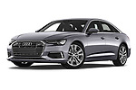 Stock pictures of low aggressive front three quarter view of a 2019 Audi A6 Design 4 Door Sedan
