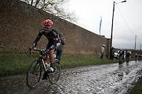 Scott Thwaites (GBR/Bora-Argon18) riding strong over the wet cobbles<br /> <br /> GP Samyn 2016