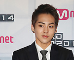 Xiu-Min(EXO), Aug 11, 2014 : XiuMin of South Korean-Chinese K-Pop idol boy band EXO, attends a presentation for their new show on Mnet, 'EXO 90:2014', at CJ E&M Center in Seoul, South Korea.  (Photo by Lee Jae-Won/AFLO) (SOUTH KOREA)