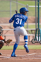Kansas City Royals outfielder Michael Gigliotti (31) at bat during an Instructional League game against the San Francisco Giants at the Giants Training Complex on October 17, 2017 in Scottsdale, Arizona. (Zachary Lucy/Four Seam Images)