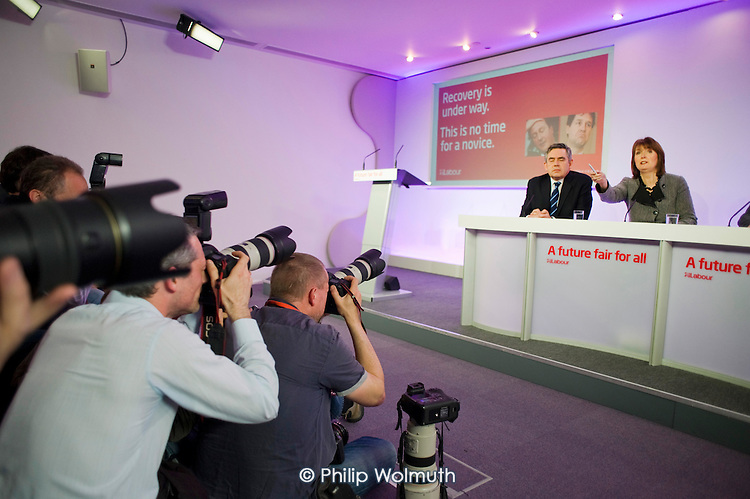 Gordon Brown, Harriet Harman, Labour Party election campaign press conference, London.