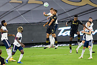 LOS ANGELES, CA - SEPTEMBER 23: Andy Rose #15 of the Vancouver Whitecaps battles with Eddie Segura #4 of LAFC during a game between Vancouver Whitecaps and Los Angeles FC at Banc of California Stadium on September 23, 2020 in Los Angeles, California.