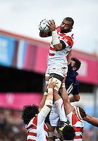 Michael Leitch of Japan wins the ball at a lineout. Rugby World Cup Pool B match between Scotland and Japan on September 23, 2015 at Kingsholm Stadium in Gloucester, England. Photo by: Patrick Khachfe / Stewart Communications