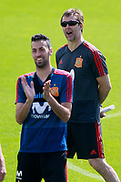 Spain's coach Julen Lopetegui (r) and Sergio Busquets during training session. May 31,2018.(ALTERPHOTOS/Acero) /NortePhoto.com