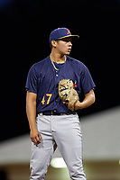 State College Spikes relief pitcher Edgar Gonzalez (47) during a game against the Batavia Muckdogs on July 7, 2018 at Dwyer Stadium in Batavia, New York.  State College defeated Batavia 7-4.  (Mike Janes/Four Seam Images)