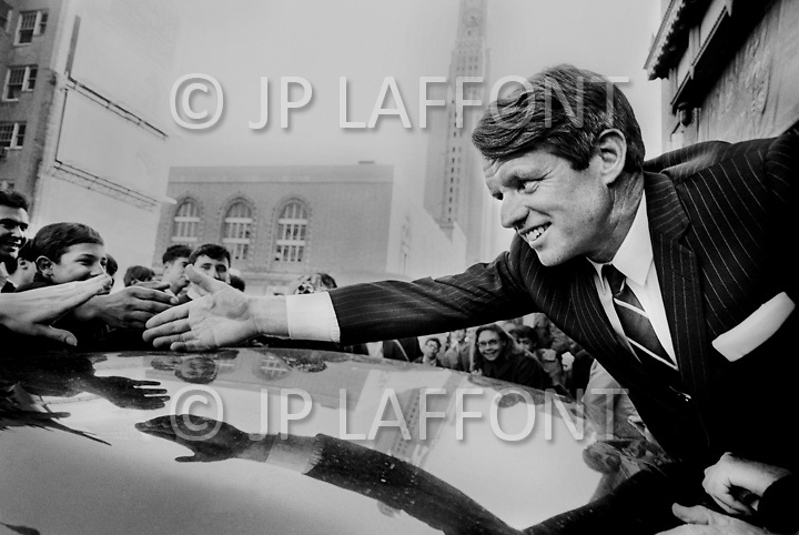 Brooklyn, New York City, NY. December 1st, 1967. <br /> Robert Kennedy, Democratic Senator from New York, greets his supporters at Fort Greene during his campaign for president.