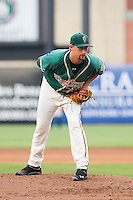 Greensboro Grasshoppers starting pitcher Max Garner (21) looks to his catcher for the sign against the Hagerstown Suns at NewBridge Bank Park on May 20, 2014 in Greensboro, North Carolina.  The Grasshoppers defeated the Suns 5-4. (Brian Westerholt/Four Seam Images)