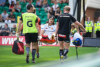 Josh Tatupu of Exeter Chiefs is stretchered off during the Aviva Premiership match between Northampton Saints and Exeter Chiefs at Franklin's Gardens on Sunday 9th September 2012 (Photo by Rob Munro)