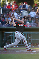 Austin Allen (34) of the Lake Elsinore Storm bats against the Inland Empire 66ers at San Manuel Stadium on April 29, 2017 in San Bernardino, California. Inland Empire defeated Lake Elsinore, 3-1. (Larry Goren/Four Seam Images)
