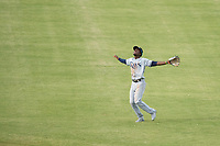 Peoria Javelinas shortstop Lucius Fox (5), of the Tampa Bay Rays organization, calls to make a catch during an Arizona Fall League game against the Mesa Solar Sox at Sloan Park on October 11, 2018 in Mesa, Arizona. Mesa defeated Peoria 10-9. (Zachary Lucy/Four Seam Images)