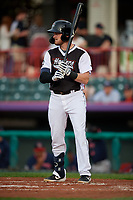 Erie SeaWolves Kody Eaves (22) at bat during an Eastern League game against the Portland Sea Dogs on June 17, 2019 at UPMC Park in Erie, Pennsylvania.  Portland defeated Erie 6-3.  (Mike Janes/Four Seam Images)