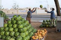 Tripoli, Libya - Egyptian Vendors Moving Watermelons