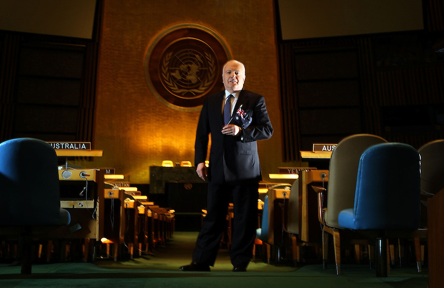 Australian Ambassador to the United Nations, Gary Quinlan pictured by the Australia desk the UN chamber at UN Headquarters in New York City.