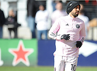 WASHINGTON, DC - MARCH 07: Rodolfo Pizarro #10 of Inter Miami CF during pregame warmups during a game between Inter Miami CF and D.C. United at Audi Field on March 07, 2020 in Washington, DC.